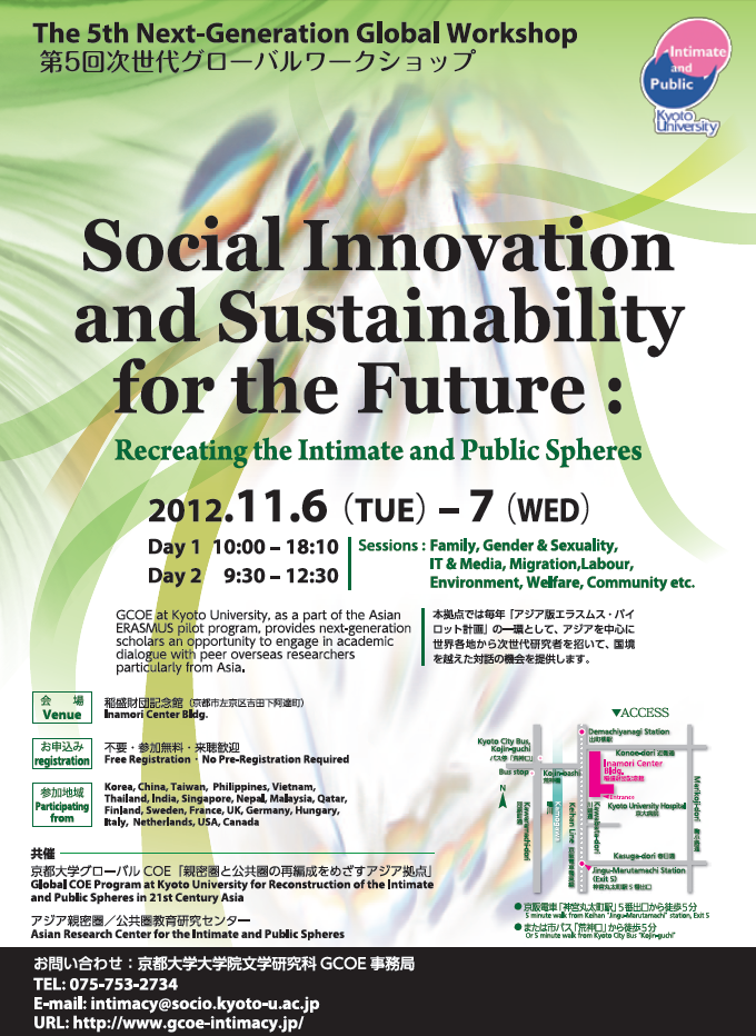 "第5回次世代グローバルワークショップ""Social Innovation and Sustainability for the Future: Recreating the Intimate and Public Spheres"""